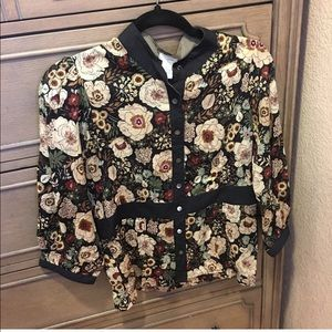 NWT Anthropologie Odille Brown Floral Blouse 8